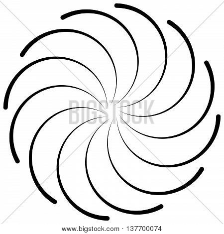 Spiral Shape On White. Curved Lines Rotating From A Centric Point Forming A Circle. Abstract Geometr