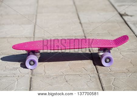 Pink penny skateboard, summer outdoors