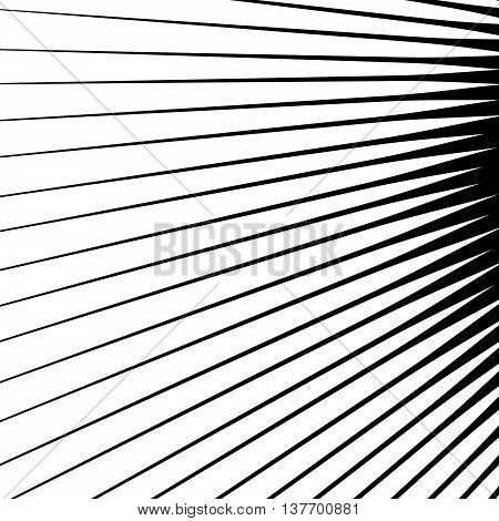 Spikes Spreading From A Central Point. Geometric Illustration. Spokes, Radial Lines Element.