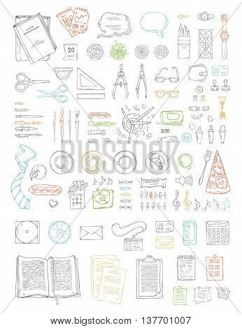 Hand-drawn stationery supplies isolated on white background. Top view. Design elements for work and education. Food drinks and plants.