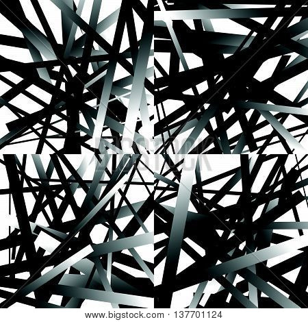 Scattered, Random Lines. Set Of 4 Patterns, Monochrome Abstract Geometric Illustrations.
