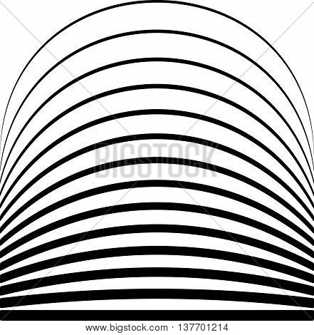 Set Of Lines With Different Level Of Deformation. Abstract Geometric Illustration.