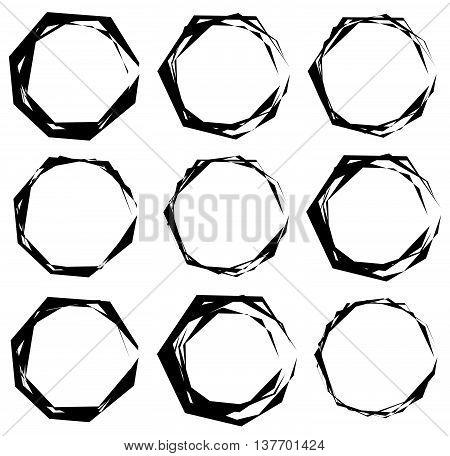 Geometric Frames. Set Of Edgy Geometric Circular Frames.