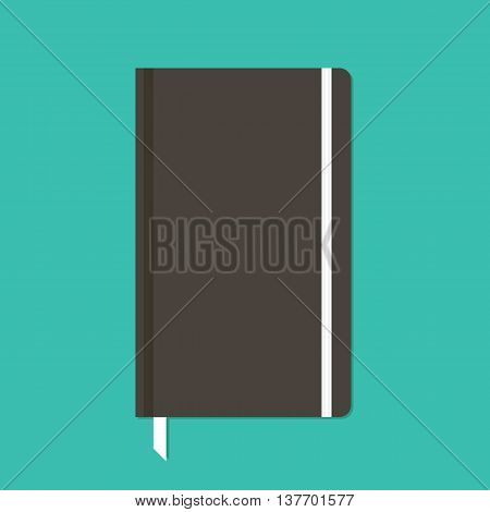 Black notebook with elastic band vector flat design illustration.