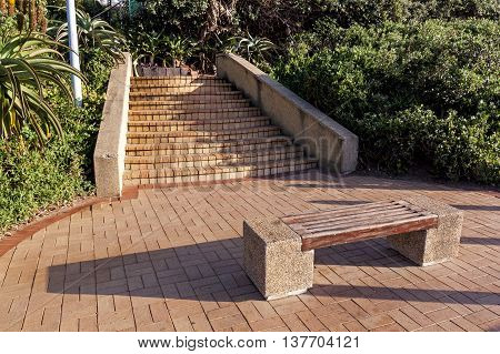 Empty paved pathway with wooden bench and brick step entry and exit surrounded by green vegetation on beachfront