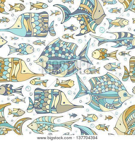 Vector Seamless Fish Pattern.