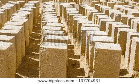 A moltidute of tufa blocks in a stone quarry