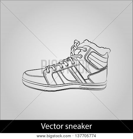 Contour shoes. cartoon sneaker isolated on grey background