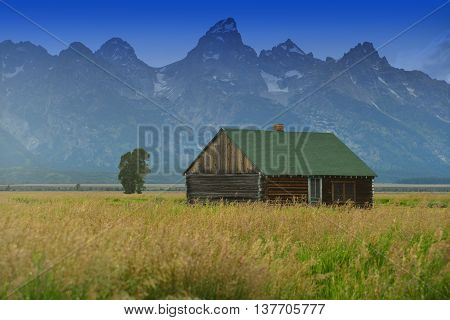 Historic House Mormon Row Grand Tetons National Park Wyoming USA