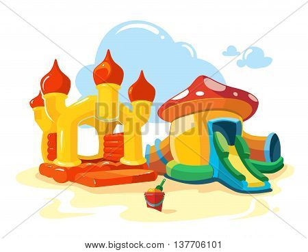 Vector illustration of two inflatable castles and children hills on playground. Pictures isolate on white background