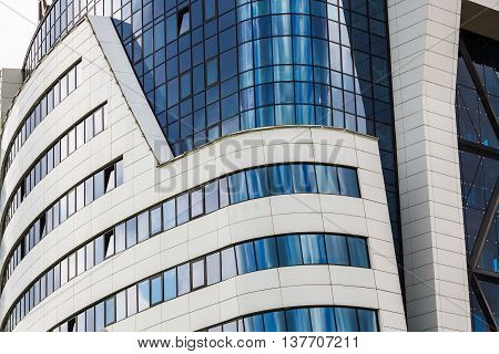 MINSK BELARUS - MAY 03 2016: Renaissance Minsk Hotel - this is the first hotel of the well-known international hotel chain Marriott in Belarus. Close-up of modern building.