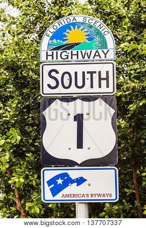 the highway sign No1 Florida keys, USA