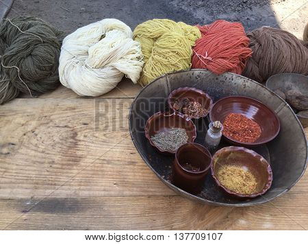 STURBRIDGE, MA - JUN 26: Textile dyeing at Old Sturbridge Village in Sturbridge, Massachusetts, as seen on Jun 26, 2016. It is a living museum which re-creates life in rural New England during the 1790s through 1830s.
