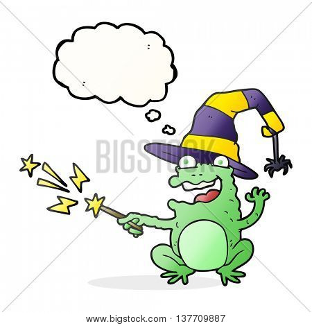 freehand drawn thought bubble cartoon toad casting spell