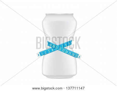 Drink can white color have a curve shape like a shapely body of woman. Beverage can have measuring tape around. This illustration about slimming drink concept.