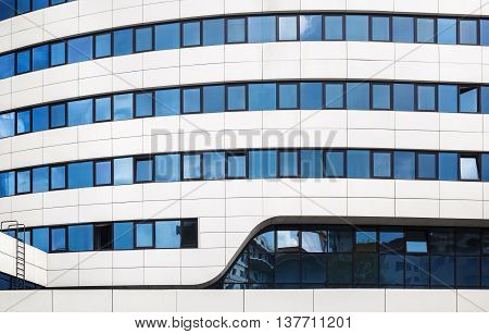MINSK BELARUS - MAY 03 2016: Renaissance Minsk Hotel - this is the first hotel of the well-known international hotel chain Marriott in Belarus. Close-up of a modern building.
