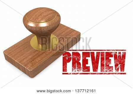 Preview wooded seal stamp image, 3d Rendering