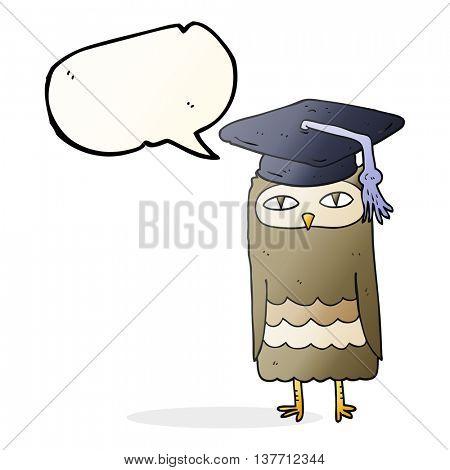 freehand drawn speech bubble cartoon wise owl