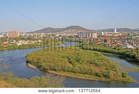 River Selenga And Cityscape Of Ulan Ude