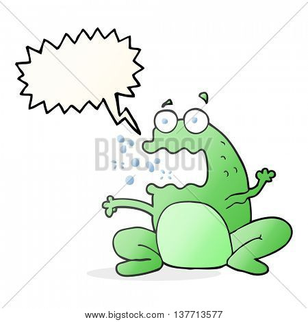 freehand drawn speech bubble cartoon burping frog