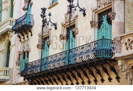 Balcony Of Casa Amatller In Eixample District Of Barcelona