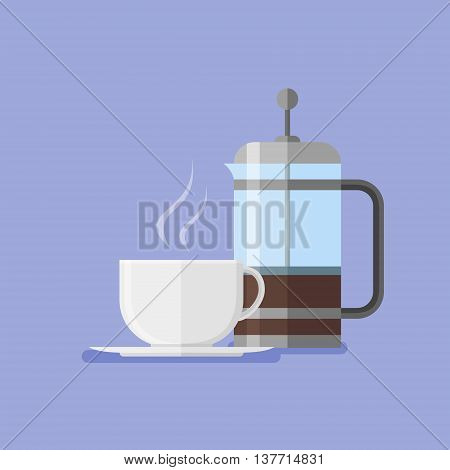 French press and coffee cup. Flat style vector illustration.