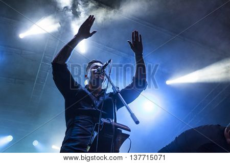 Rimetea (Torocko), Romania - July 2, 2016: The Wellhello hungarian band performing at the Doublerise festival, the first multi art festival from Transylvania on July2, 2016