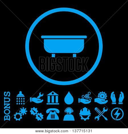 Bathtub vector icon. Image style is a flat pictogram symbol inside a circle, blue color, black background. Bonus images are included.