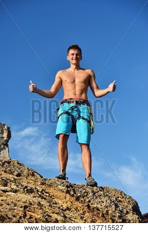 Climber Showing Thumb Up