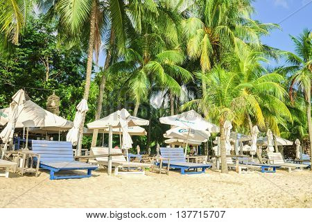 Shelters At Siloso Beach On Sentosa Island Resort In Singapore