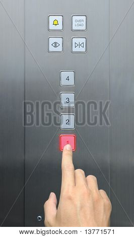 businessman hand press 1 floor in elevator