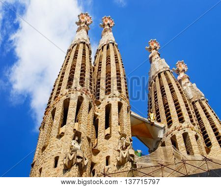 Spires Of Sagrada Familia In Barcelona In Spain