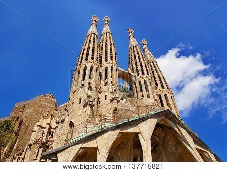 Steeples Of Sagrada Familia In Barcelona In Spain