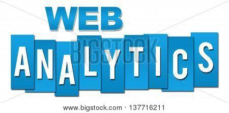 Web analytics text written over blue background.