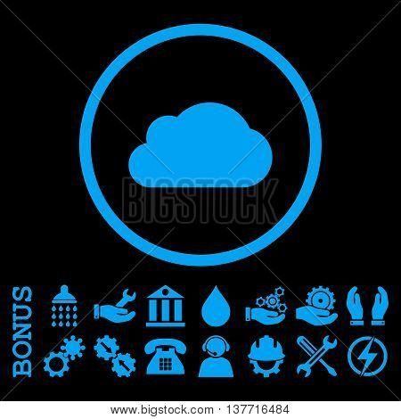 Cloud vector icon. Image style is a flat pictogram symbol inside a circle, blue color, black background. Bonus images are included.