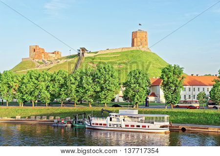 Upper Castle And Neris River In Vilnius Of Lithuania
