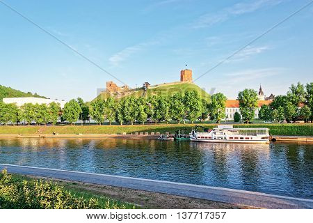 Gediminas Tower And Neris River Of Vilnius