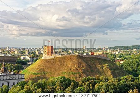 Gediminas Tower On The Hill In Vilnius In Lithuania
