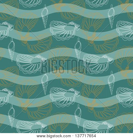 Vector seamless abstract pattern with waves and shells.