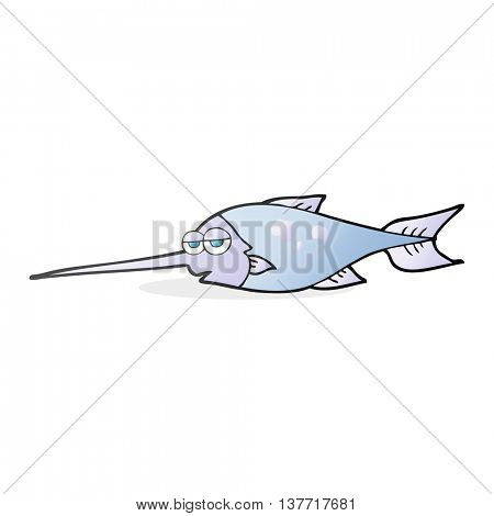 freehand drawn cartoon swordfish
