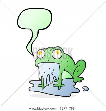 freehand drawn speech bubble cartoon gross little frog