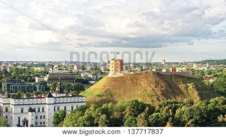 Panorama Of Gediminas Tower And Lower Castle In Vilnius