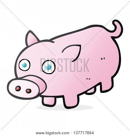 freehand drawn cartoon piglet