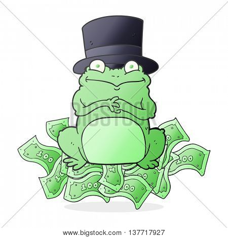 freehand drawn cartoon rich frog in top hat