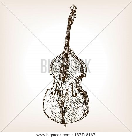 Double bass sketch style vector illustration. Old engraving imitation.