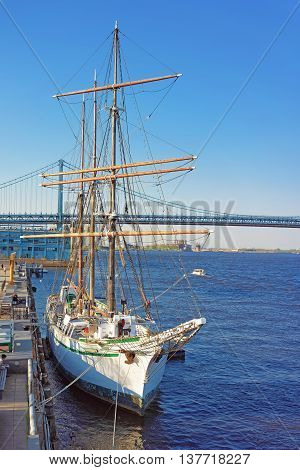 Ship At The Waterfront Of Delaware River Of Philadelphia