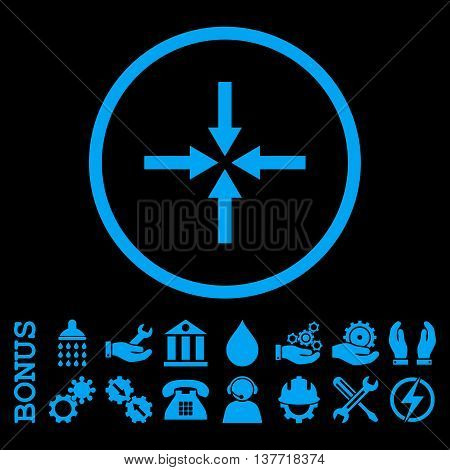 Impact Arrows vector icon. Image style is a flat pictogram symbol inside a circle, blue color, black background. Bonus images are included.