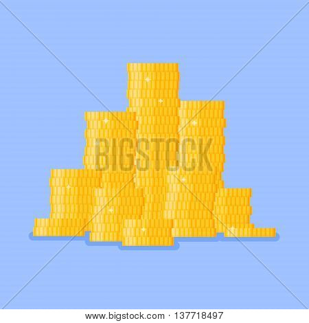 Stacked pile of gold coins on blue background. Stack of money. Flat style vector illustration.