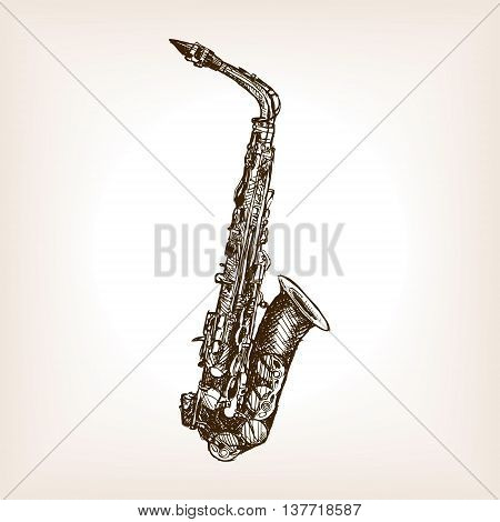 Saxophone sketch style vector illustration. Old engraving imitation.