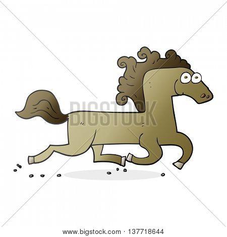 freehand drawn cartoon running horse